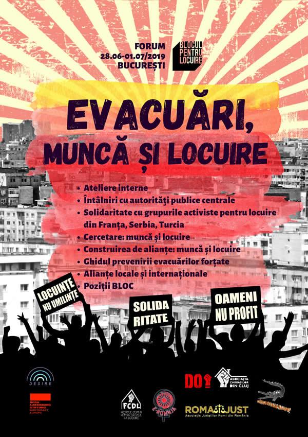 Forumul Bloc: EVACUĂRI, MUNCĂ ȘI LOCUIRE